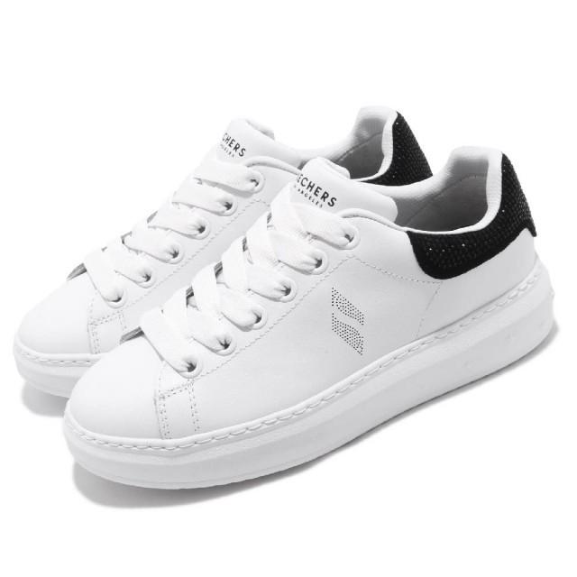 skechers HIGH STREET 美版水鑽 增高鞋 明星款 記憶鞋墊 白黑 女版 73707WBK