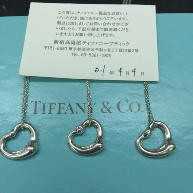 二手 蒂芬妮 Tiffany 愛心 Open heart 純銀 雙鑽石 粉色寶石 項鍊 經典款式 保證真品 正品 可面交