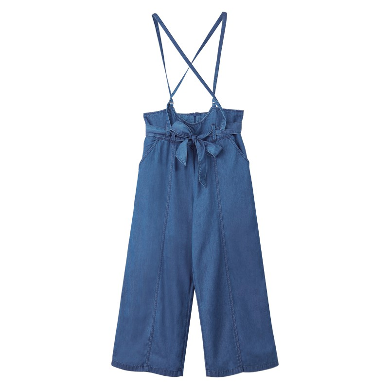 【ERSS】吊帶牛仔寬褲 - 女 中古藍 S60074