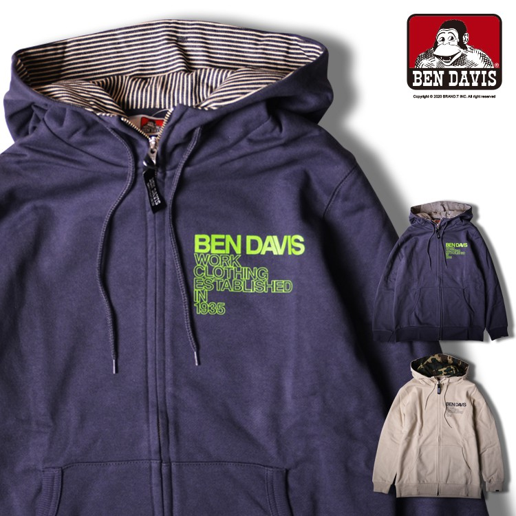 BEN DAVIS FULL ZIP HOODIE 字體 LOGO 連帽 外套 夾克 2色