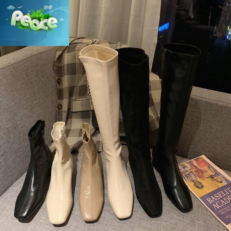 秋冬新款韓版方頭長靴騎士靴高筒靴不過膝女靴高跟粗跟米白色靴子