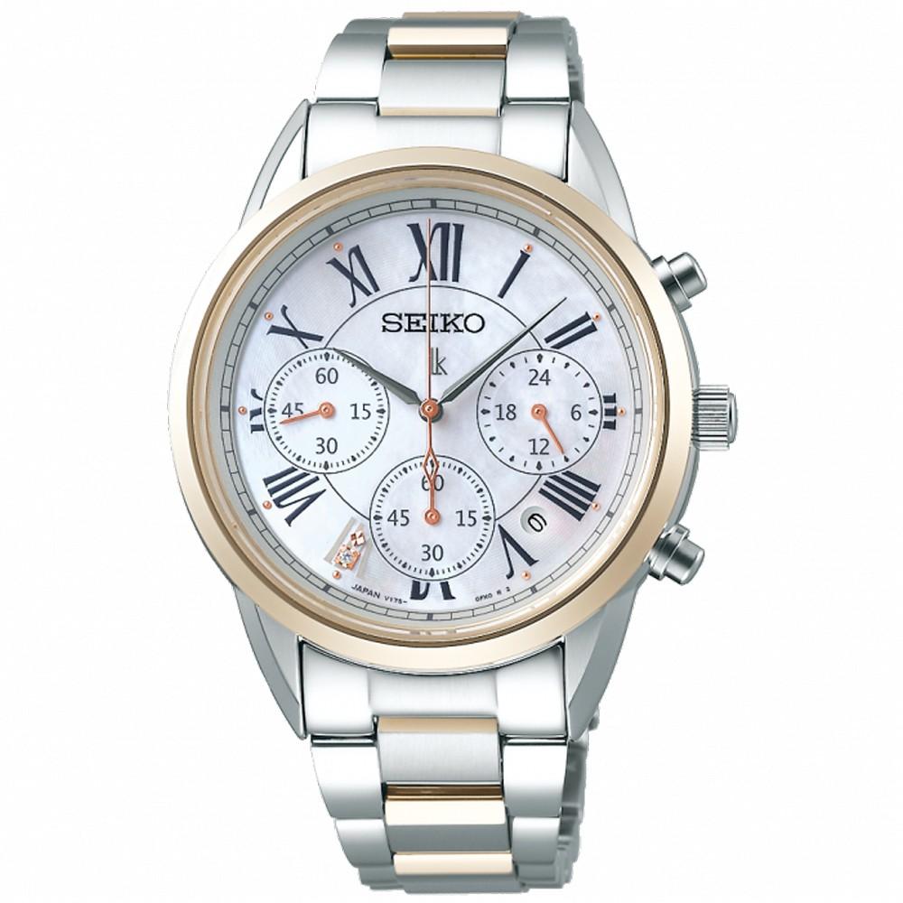【SEIKO 精工】LUKIA 太陽能真鑽三眼計時腕錶-36.4mm(V175-0EX0GS/SSC820J1)