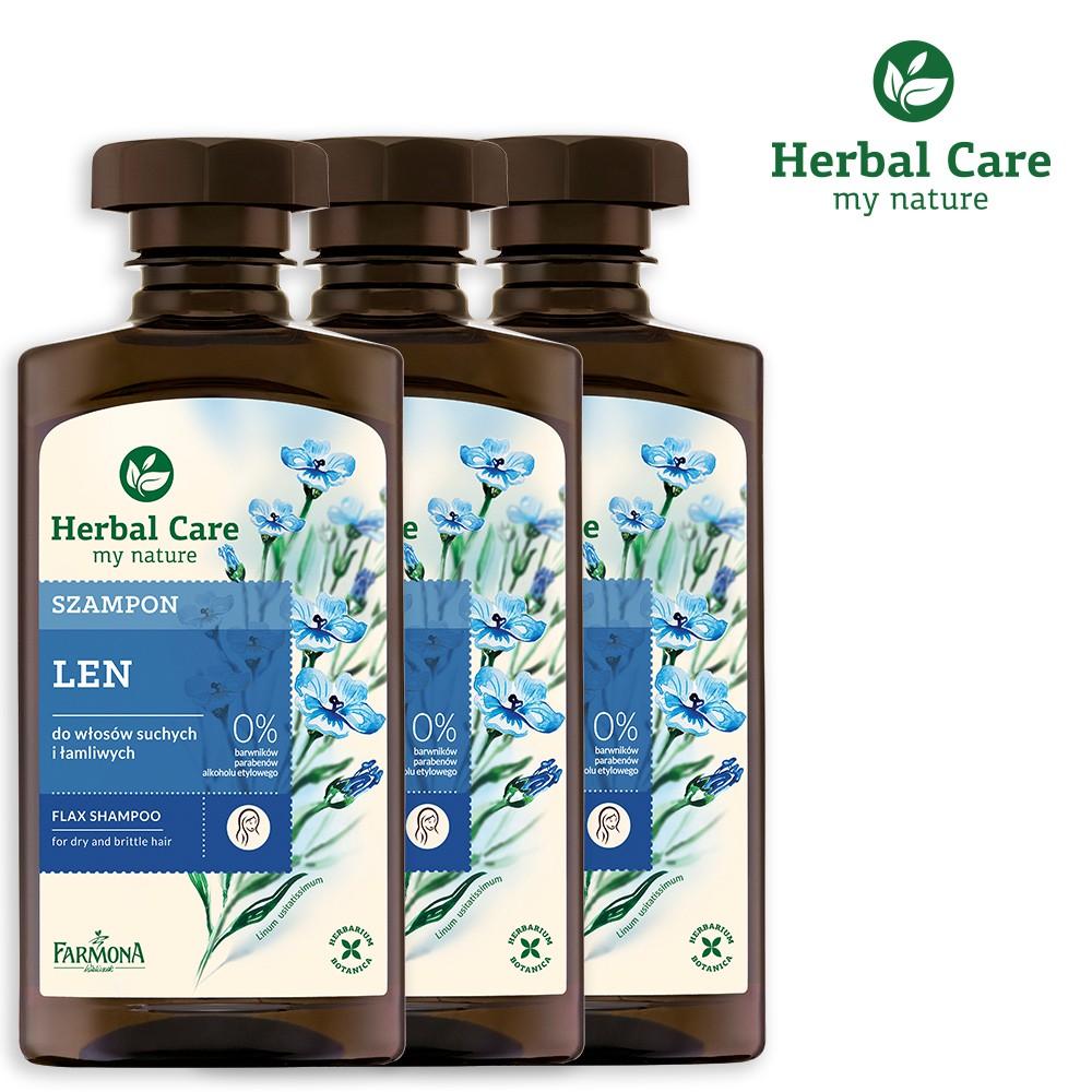 【波蘭Herbal Care】亞麻豐盈植萃調理洗髮露(易分岔髮質適用) 3入組