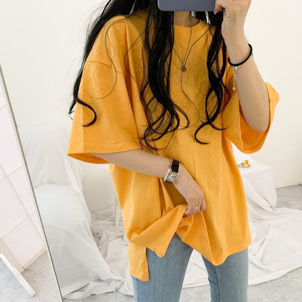 阿華有事嗎AHUA 正韓女裝 百搭純色落肩短袖T恤 C1753 韓妞必備 百搭顯瘦基本款