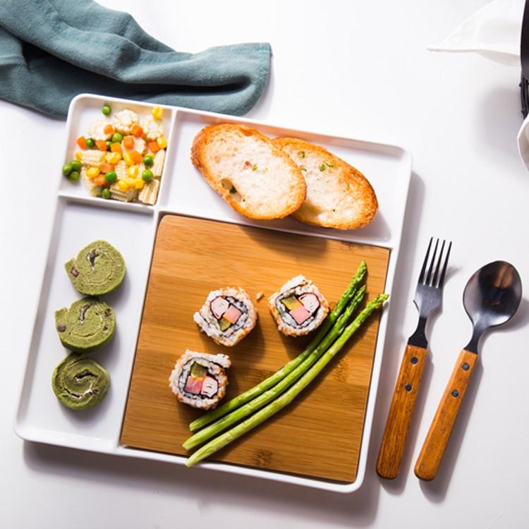 shopp709陶瓷西餐盤創意正方形分格盤配竹板速食盤早餐盤點心盤餐具