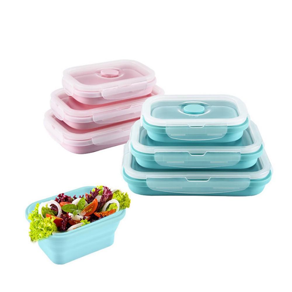 【熊愛貝百貨】可折疊矽膠保鮮盒三件套 午餐野餐便當盒可微波加熱三入組