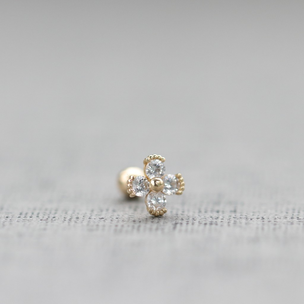 14K Four Leaf CZ Piercing 四葉花瓣鎖珠耳環(單個)