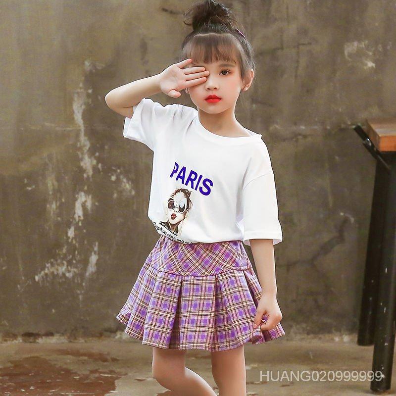 韓版短袖 中大童童裝短裙新款T恤夏款洋氣女孩套裝兩件套女童