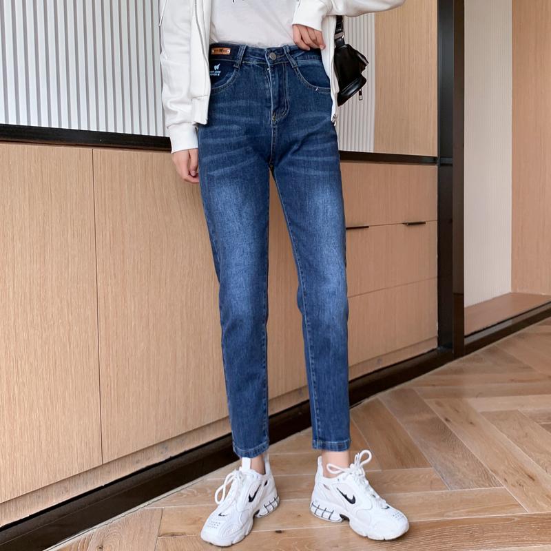 M-4XL大尺碼衣著 新款牛仔褲女寬鬆顯瘦彈力牛仔洋氣九分老爹褲褲