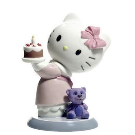 Hello Kitty 凱蒂貓  Lladro純手工製作 生日造型 陶瓷 娃娃 擺飾  日本正版