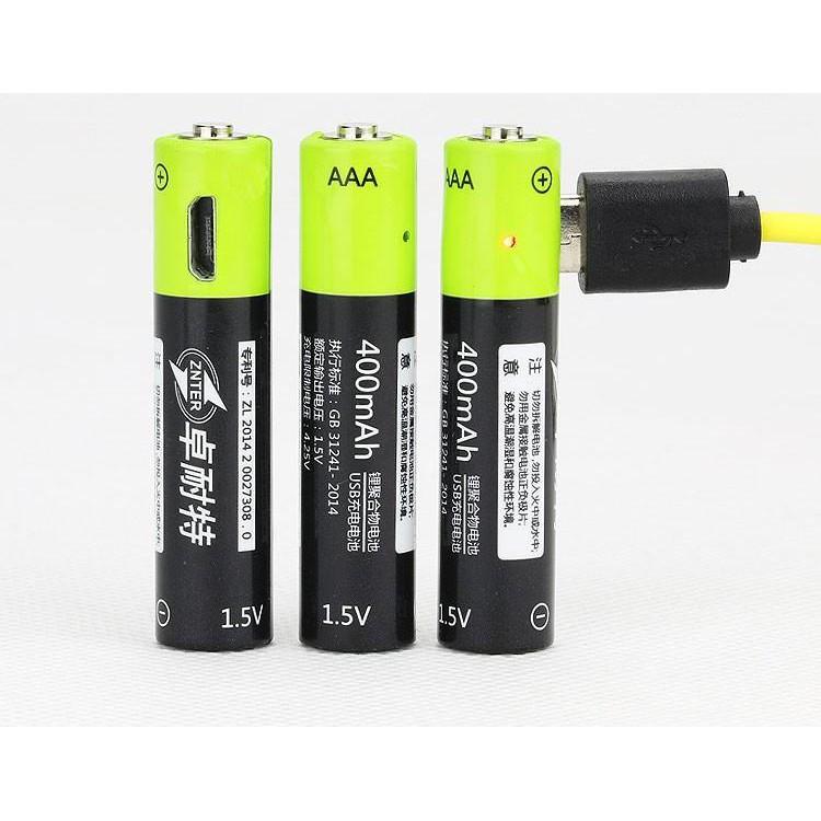 【山道具屋】ZNTER 卓耐特 1.5V 400mAh USB 快充鋰聚合電池(4號/AAA)