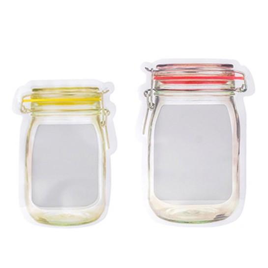 梅森瓶造型 收納袋 半透明 封口 夾鏈袋 密封袋 收納袋 透明袋 保鮮【RI1850】《Jami》