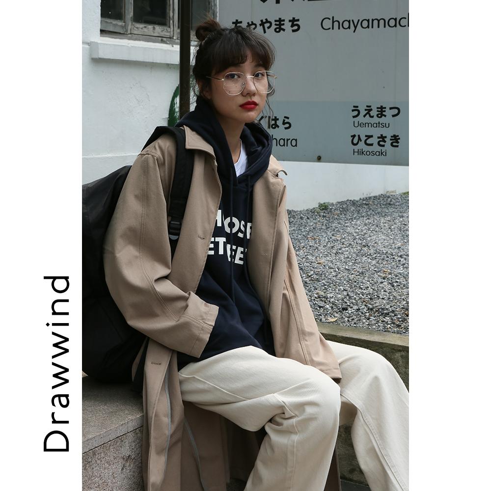 畫風drawwind卡其色風衣女中長款小個子早秋氣質寬鬆休閒大衣外套