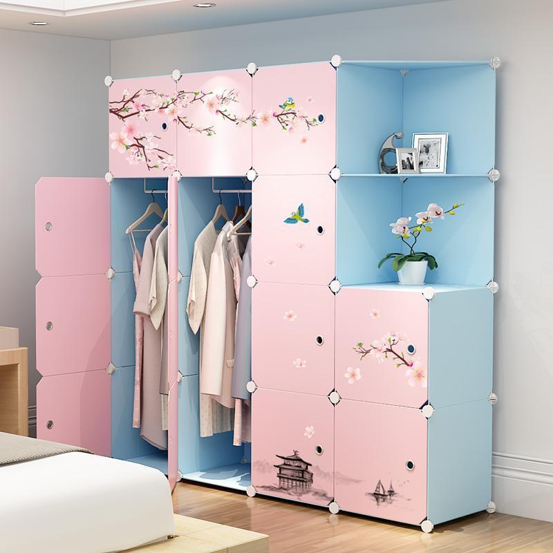 現貨簡易衣柜簡約現代塑料組裝衣櫥組合布藝鋼架臥室兒童儲物收納柜子超大容量衣櫃簡易衣櫃布藝收納櫃創意服衣帽架