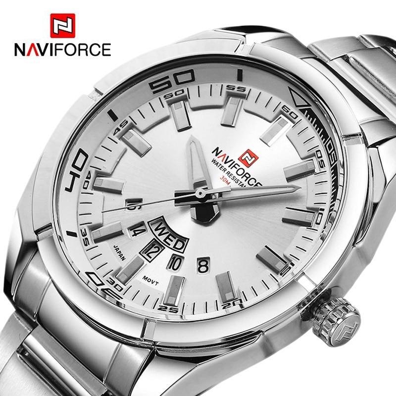 領翔NAVIFORCE手錶男士頂級品牌男士手錶全鋼防水休閒石英日期運動軍事腕錶