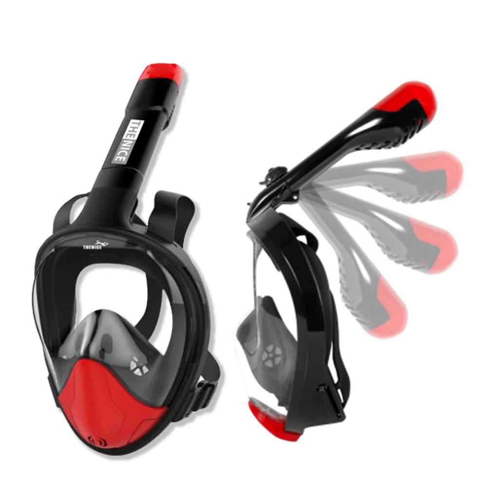 【THENICE】折疊款全罩式浮潛面罩 黑紅【TNF1】新一代 機能款 跳色 兩年保固 摺疊 可裝GOPRO