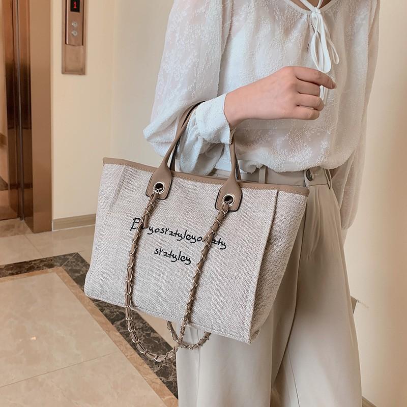 新款時尚三色大容量手提包托特包購物包購物袋麻布材質拉鍊包包兩用包單肩包肩背包側背包大包包女生包包*Happy Time*