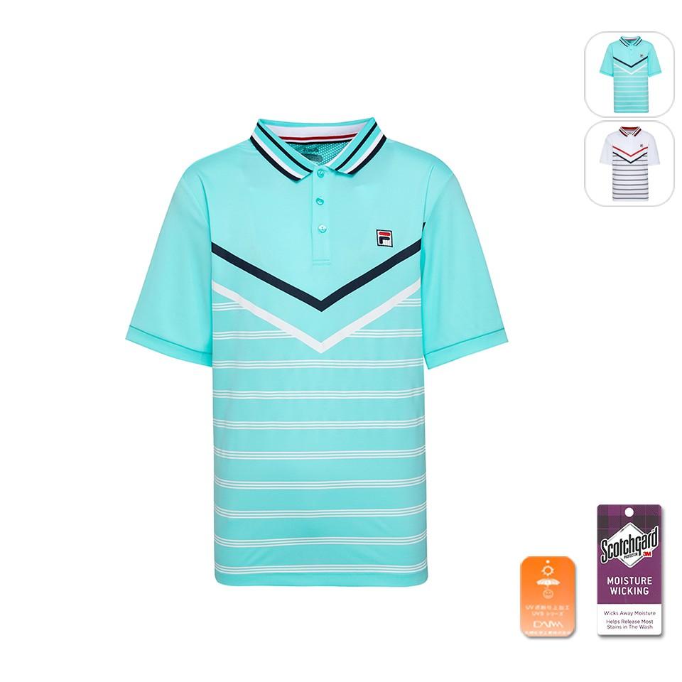 【FILA】男性 吸排抗UV POLO衫-藍綠 1POU-1002-TQ