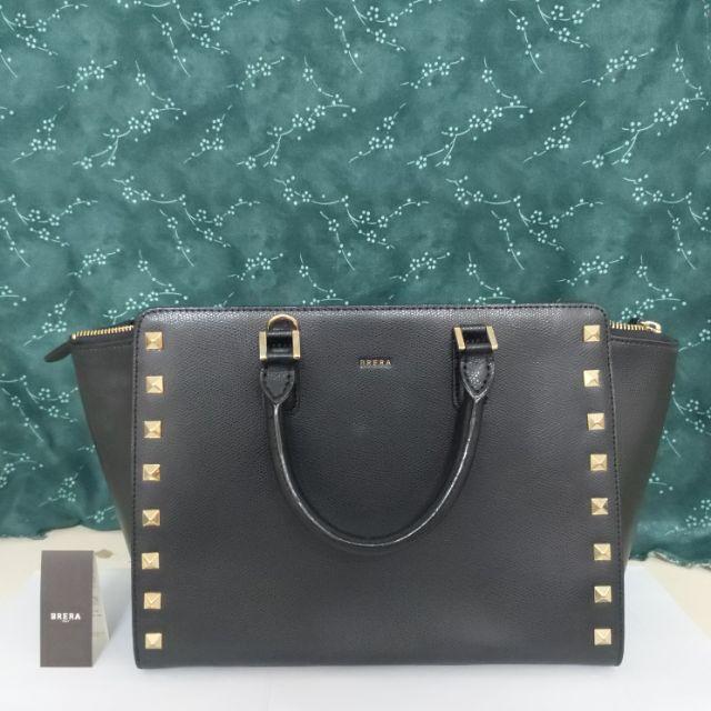 [BRERA Italy] 韓系皮革鉚釘個性手提/側背包