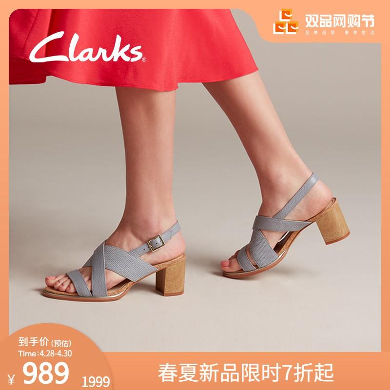 %狂歡大促銷^clarks其樂女鞋Ellis Tilda正裝交叉皮帶扣粗高跟涼鞋女潮仙女風