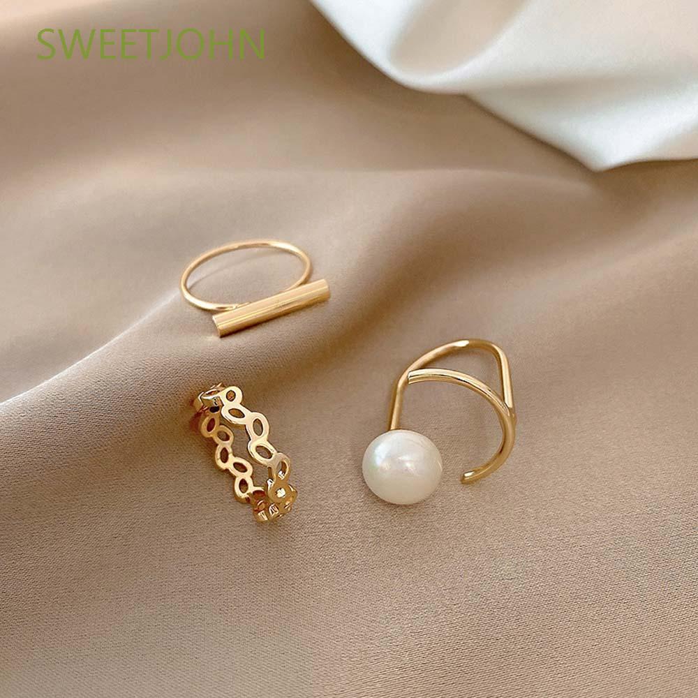 Sweetjohn 簡單開環百搭銅不規則戒指女士珍珠吉爾斯 3 件套韓國個性時尚飾品 / 多色
