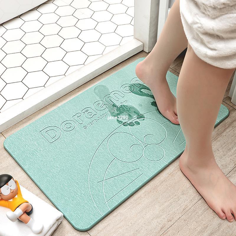 爆款-硅藻泥吸水墊防滑腳墊地墊硅藻土家用廁所浴室衛生間速幹 哆啦a夢