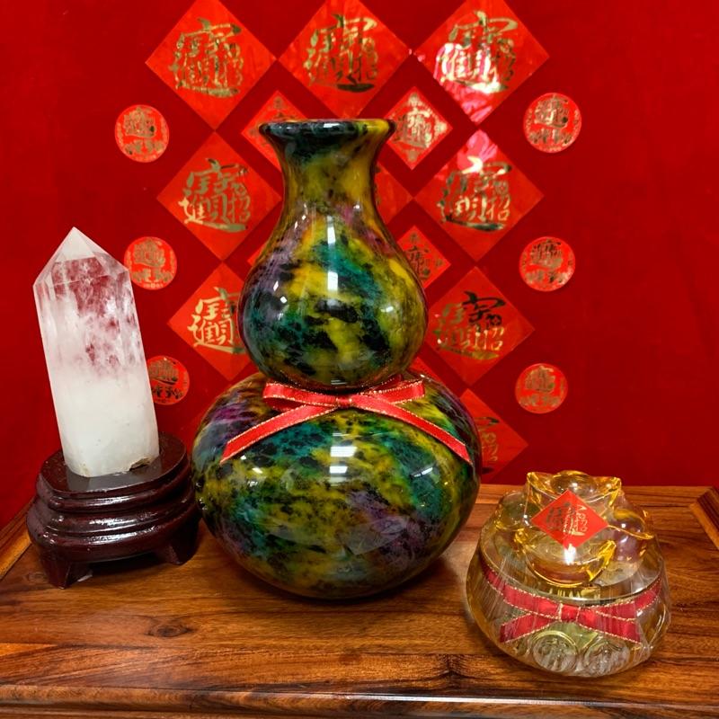 奇彩玉七彩玉葫蘆(福祿)花瓶21公分高(現貨1)