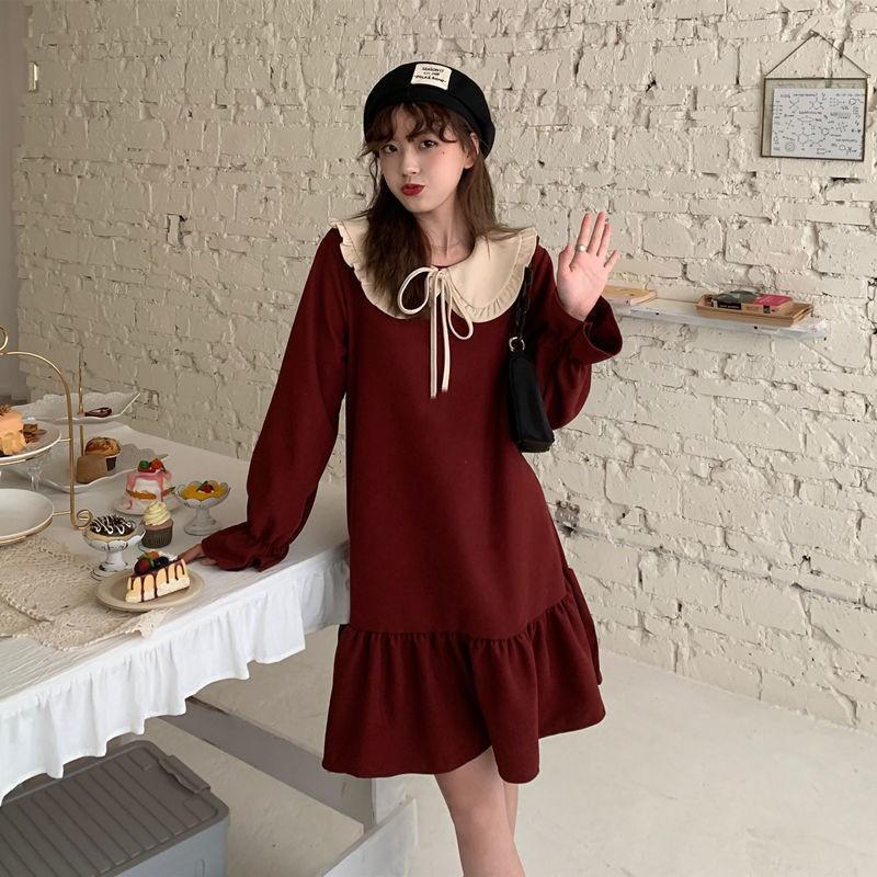 長袖洋裝 新年洋裝 紅色洋裝 連衣裙 春季新款甜美娃娃領蝴蝶結長袖連衣裙女學生韓版顯瘦中長款a字裙