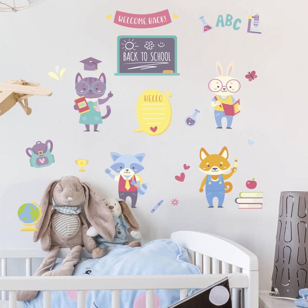 壁貼森林動物歡迎回到學校牆貼886 寶寶兒童房間臥室幼兒園牆壁裝飾貼紙