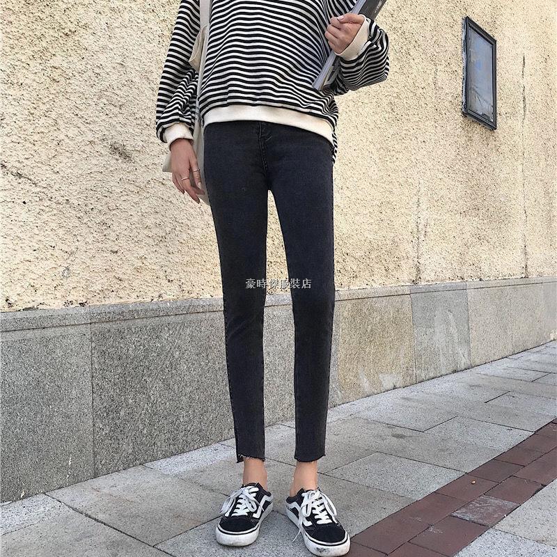 ﺴ✸◐牛仔褲 小腳褲 鉛筆褲 小腳牛仔褲女春秋新款側邊開叉高腰修身顯瘦九分緊身褲鉛筆褲