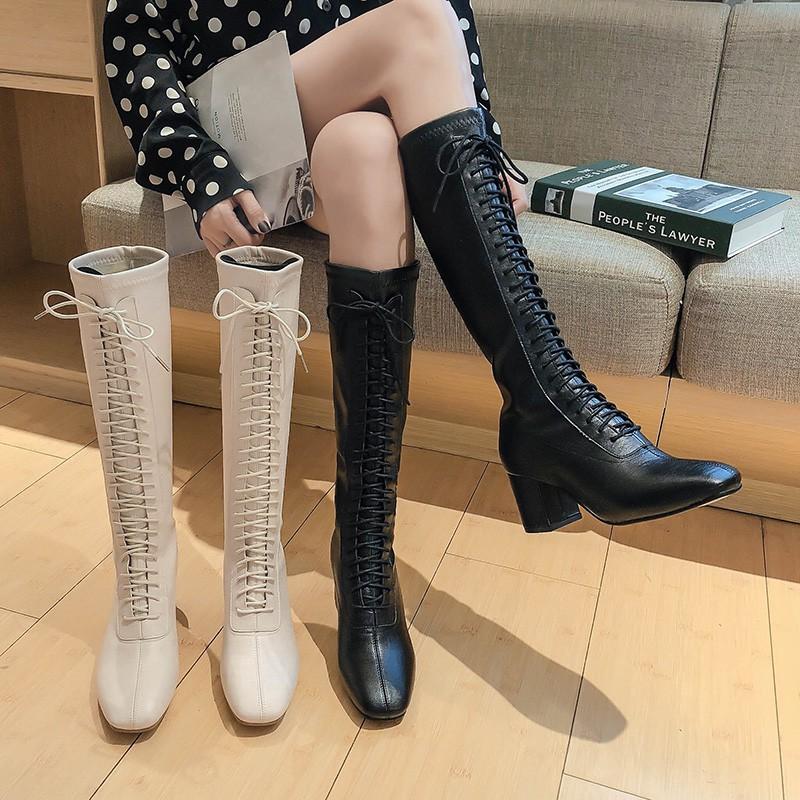 長筒不過膝長靴女春秋單靴2020新款加絨粗跟高跟高筒白色馬丁靴子YJ