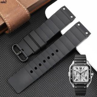 🚑🏆硅膠橡膠手表帶代用卡地亞山度士Santos 100表帶Cartier桑托斯男F特