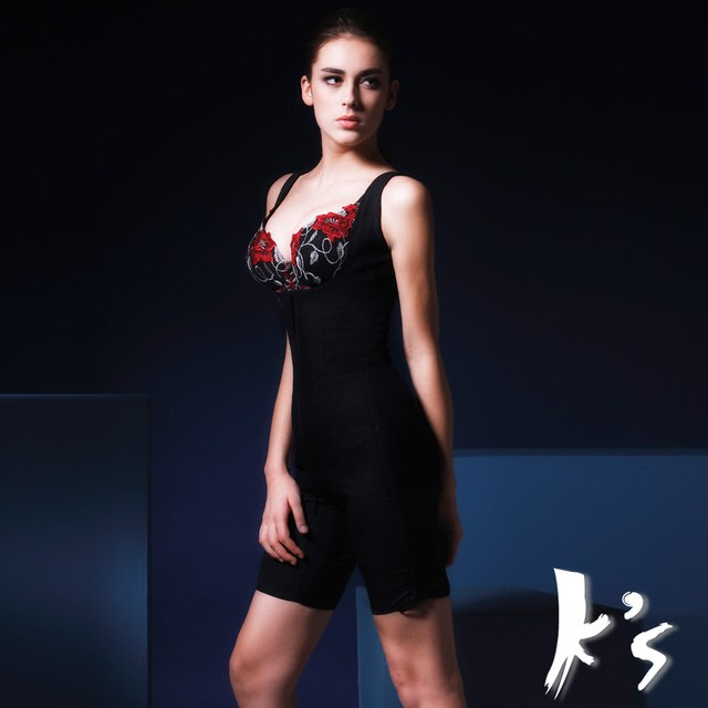 【K's凱恩絲】水晶網紗系列無罩杯有罩杯連身大腿2分之1款塑身衣(多國專利認證)