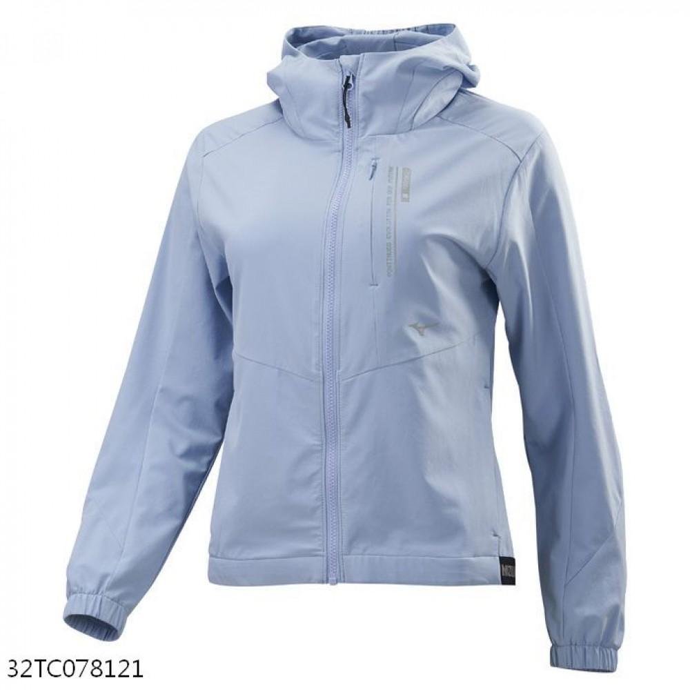 MIZUNO 女裝 連帽外套 套裝 抗紫外線 4WAY彈性 口袋拉鍊 灰藍【運動世界】32TC078121