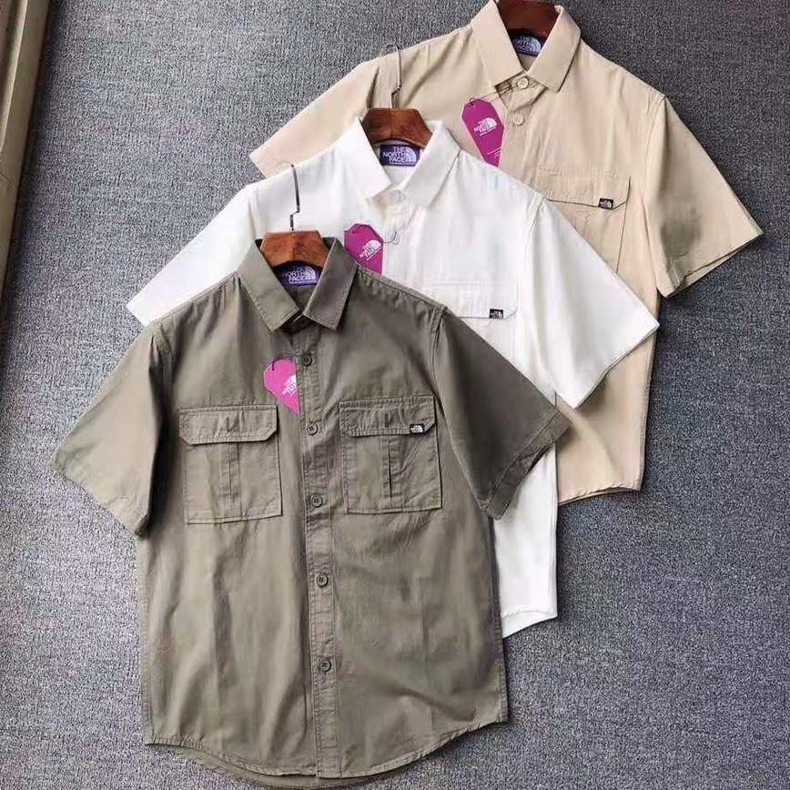 THE NORTH FACE 北臉 北面 男士多口袋工裝 襯衫 短袖 半袖襯衫 外套 日系紫標襯衫