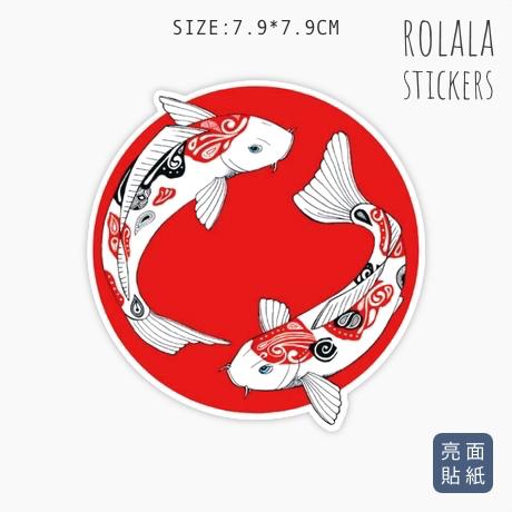 【P695】單張PVC防水貼紙 日本鯉魚貼紙 可愛魚魚貼紙 海洋生物貼紙 露營釣魚貼紙《同價位買4送1》ROLALA