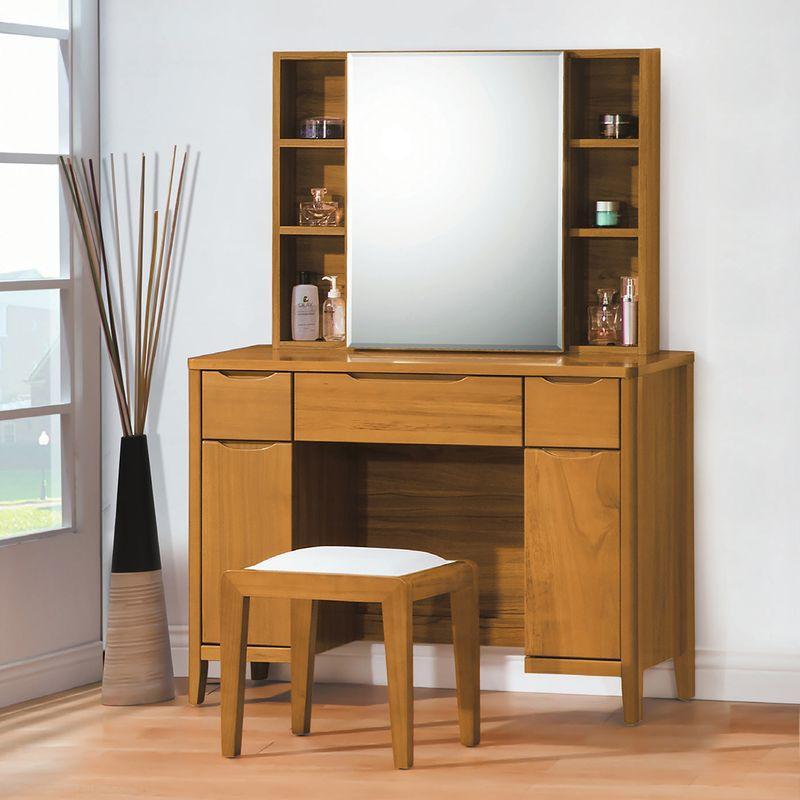 【YA127-6】米堤柚木3.3尺鏡台(含椅)