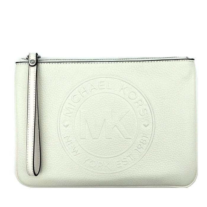 MICHAEL KORS 超大手拿包 手機包 荔枝紋真皮皮革 手拿包 萬用包 M60581 白色MK(現貨)