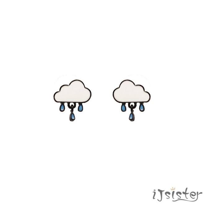 雲朵雨滴原創設計小清新下雨可愛小巧耳針耳夾耳環115