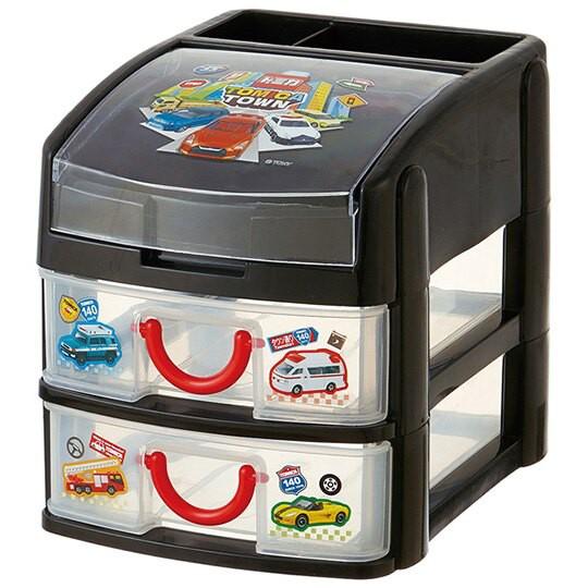 小禮堂 TOMICA小汽車 頂層掀蓋塑膠雙抽收納盒 抽屜盒 文具盒 飾品盒 (黑 排列)