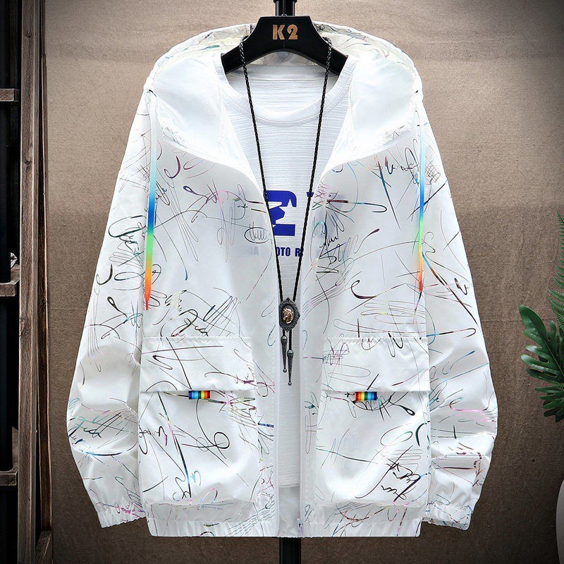 機能防護夾克 機能防護外套 夏季新款男士防曬衣男裝防紫外線潮流超薄款外套冰絲時尚衣服透氣