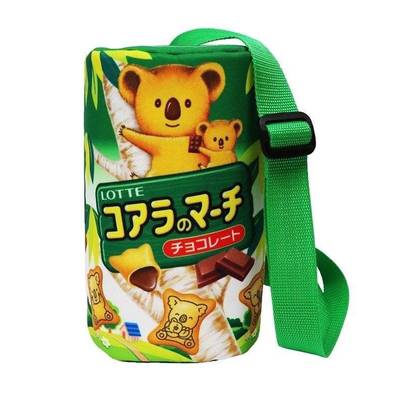全新 樂天小熊圓筒斜背包 樂天小熊餅乾造型包 樂天小熊餅乾
