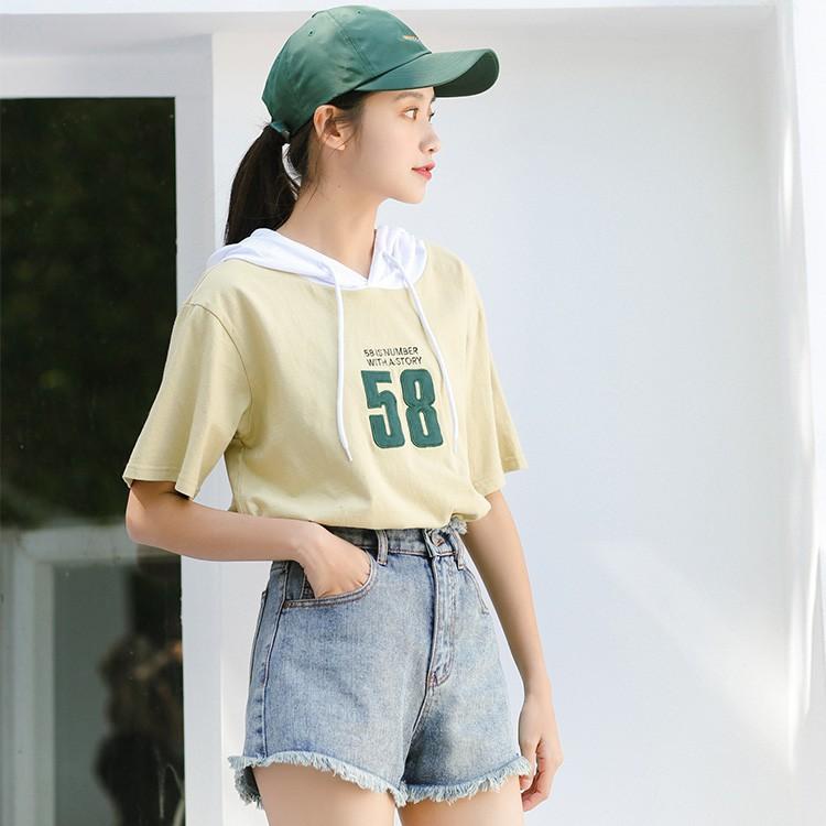 【22940】三色可選 數字印花撞色寬鬆運動連帽短袖T恤上衣帽T