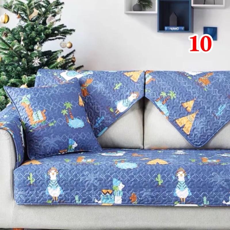 沙發墊簡約現代布藝純棉三人北歐宜家四季通用全棉防滑沙發套罩巾(4)