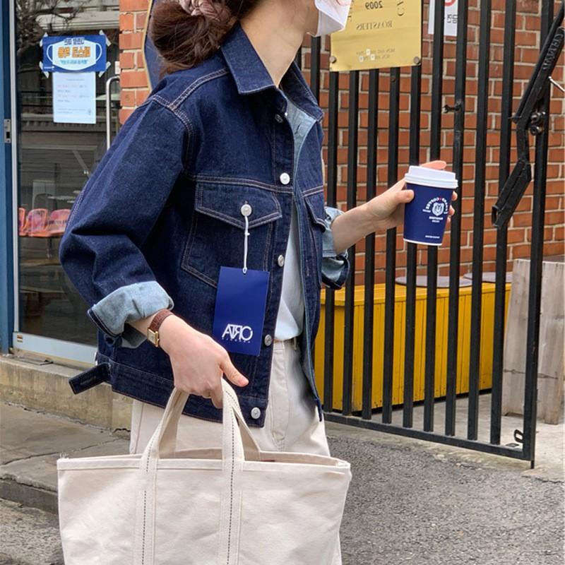 高端【預售】2021年春新款韓國東大門氣質休閑寬松顯瘦夾克牛仔外套女
