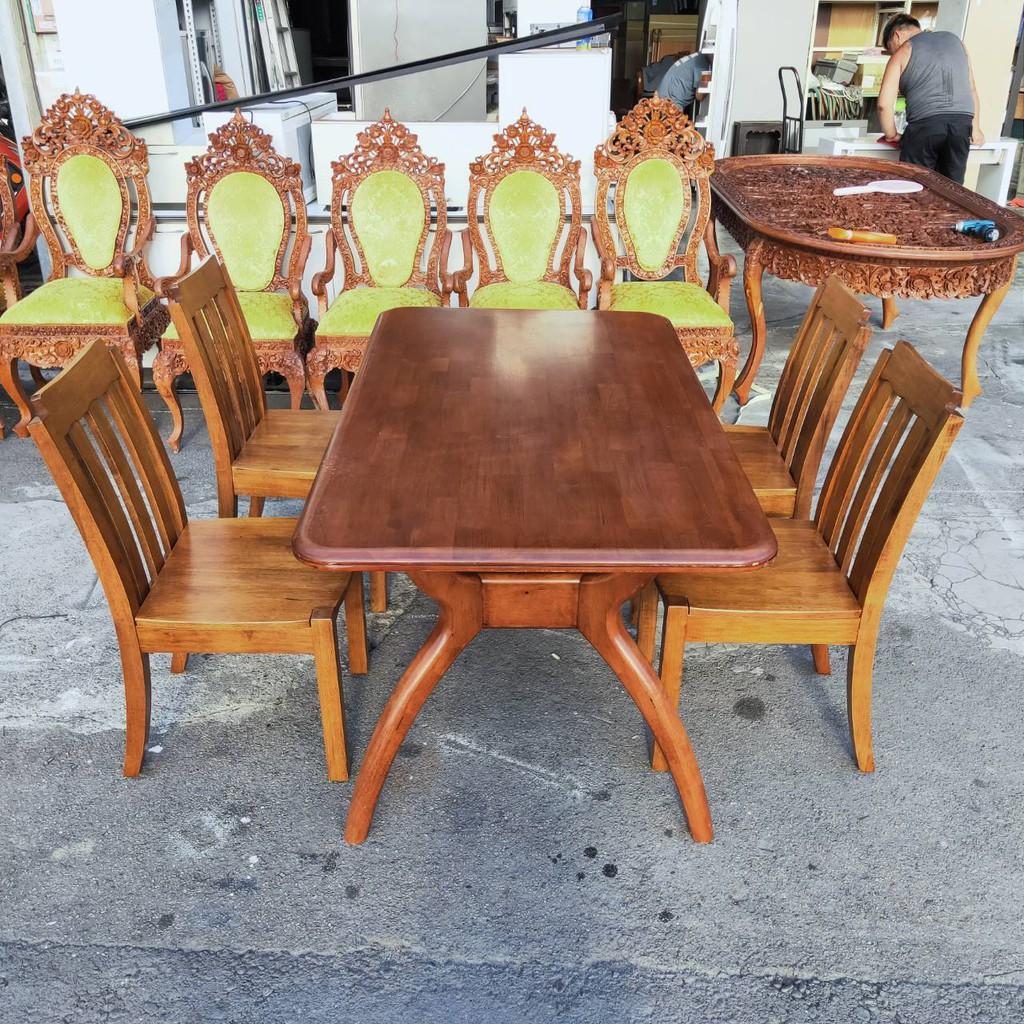 東鼎二手家具【全館自取價】柚木實木5.3尺餐桌椅組*4椅*休閒桌*餐廳桌*咖啡桌*戶外桌*吃飯桌*火鍋桌*簡餐桌
