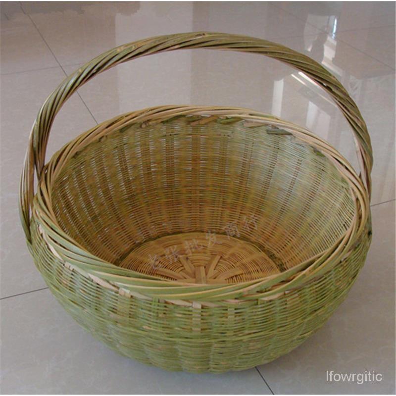 新手工天然藝品手提小竹籃子竹製雞蛋水果收納籃竹編菜籃竹筐整理框
