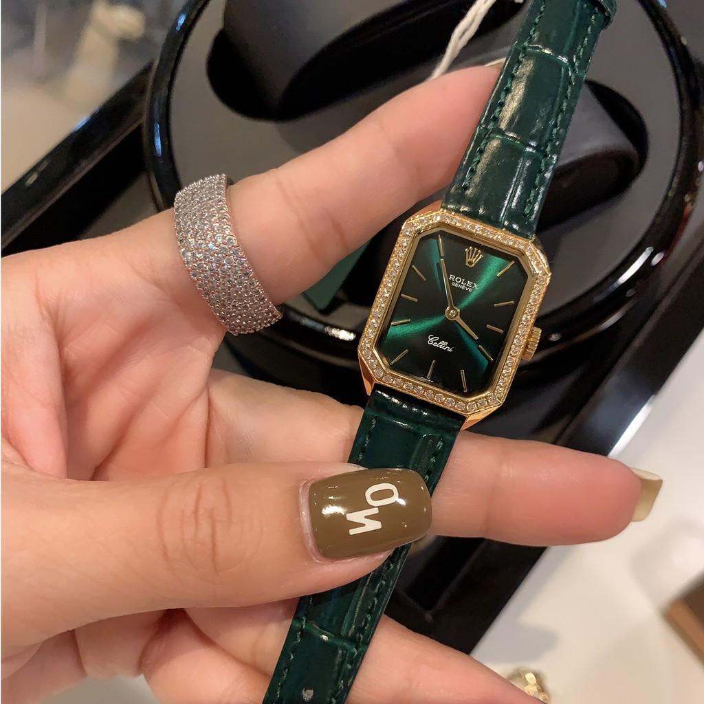 Rolex-勞力士 1970's古董女士腕錶 小長方形錶盤鑲鉆錶圈 瑞士石英機芯錶 進口小牛皮錶帶 低調奢華女士手錶高貴
