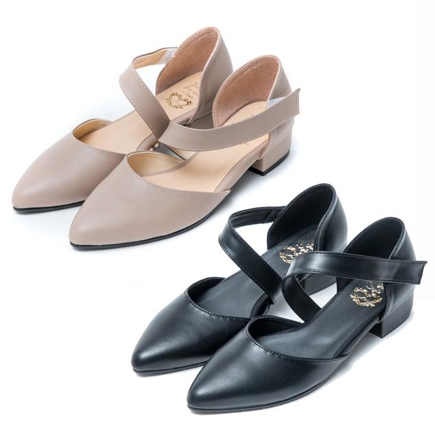 【白鳥麗子】低跟鞋 MIT質感百搭繞帶魔鬼氈尖頭粗跟包鞋