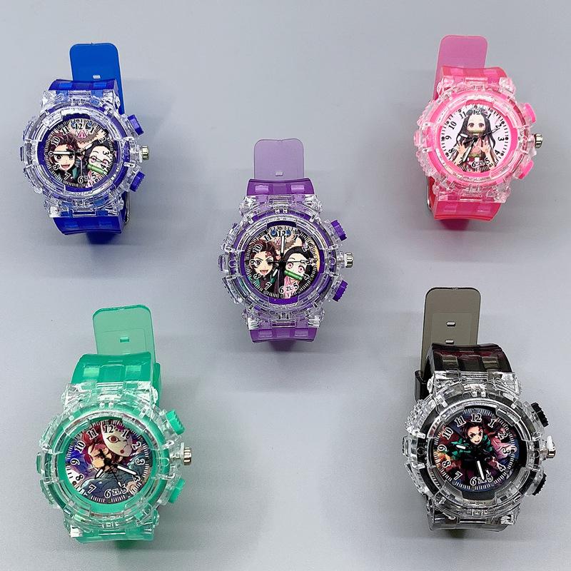 鬼滅之刃手錶 LED夜光手錶閃光手錶卡通錶發光手錶灶門炭治郎禰豆子鬼滅之刃LED夜光手錶批發
